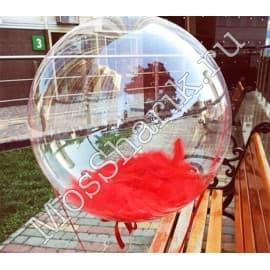 """Воздушный шарик """"Баблс"""" с красными перьями"""