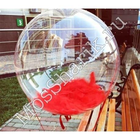 """Воздушный шарик """"Баблс"""" с перьями (красными)"""