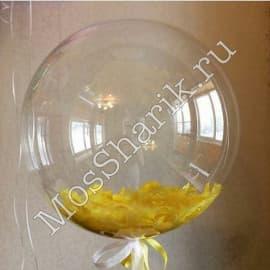 """Воздушный шарик """"Баблс"""" с перьями (желтыми)"""