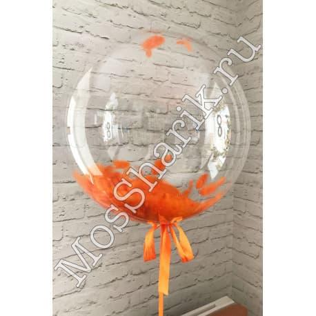 """Воздушный шарик """"Баблс"""" с перьями (оранжевыми)"""
