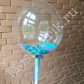 """Воздушный шарик """"Баблс"""" с перьями (голубыми)"""