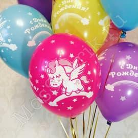 """Воздушные шарики """"Спящий единорог"""" с днем рождения"""