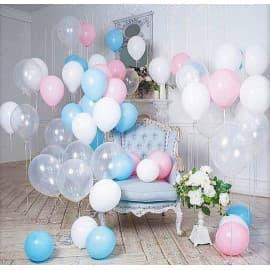 Фотозона из шариков (белые, голубые, розовые, прозрачные)