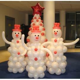 Композиция из воздушных шаров Ёлка и снеговики