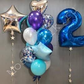 Фонтан из шаров на день рождения с цифрой и звездой с надписью