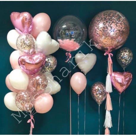 Композиции из воздушных шаров (с конфетти, с перьями, фольгированные)