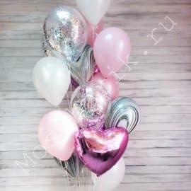 Фонтан из шаров розовый и серебро
