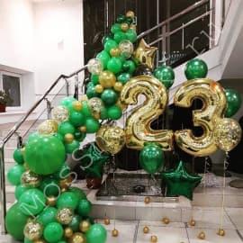Оформление шарами на 23 февраля (арка + цифра 23)