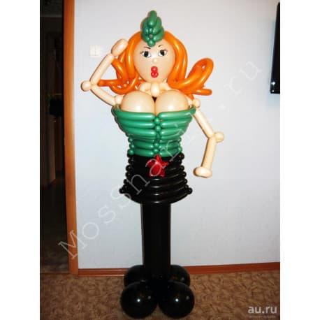 Фигура из шаров на 23 февраля: девушка рыженькая