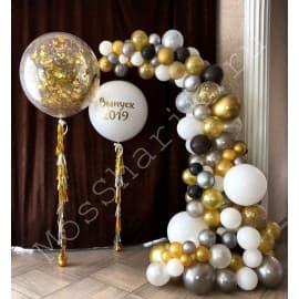 Фотозона из шаров на выпускной (арка и два огромных шара)