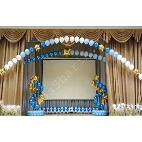 Оформление сцены шарами (с гирляндой, цепочками и фонтанами)