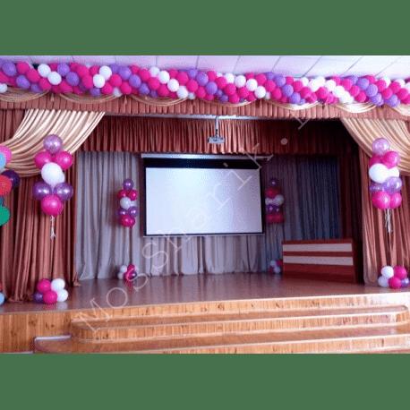 Оформление школы шариками (розовые)