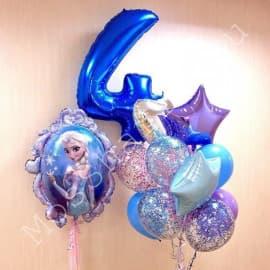 """Шарики на 4 года на день рождения """"Холодное сердце"""" с цифрой"""