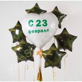 Композиция шаров с большим сердцем и звездами
