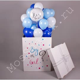 """Коробка-сюрприз шаров """"Мальчик или девочка"""" с круглым шариком"""