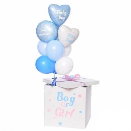 """Коробка-сюрприз шаров """"Мальчик или девочка"""" с круглым шаром и сердечками"""