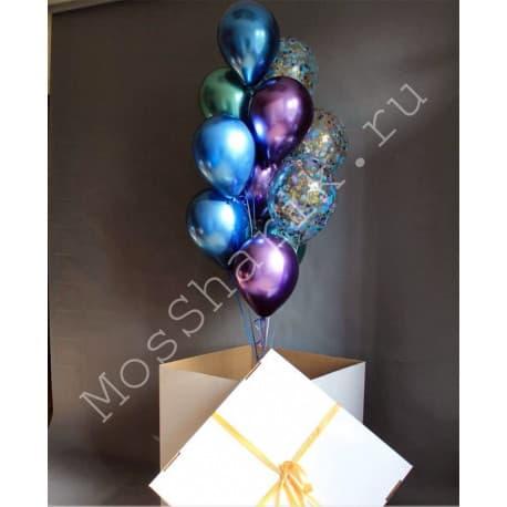 Коробка-сюрприз с шарам хром и конфетти