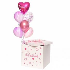Коробка-сюрприз с воздушными шарами для Любимой