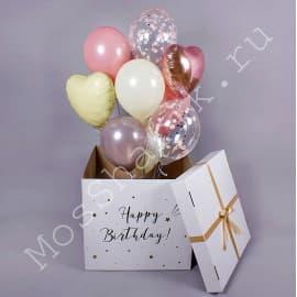 Коробка-сюрприз с шариками в пастельных тонах