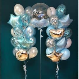 Композиция из 2 фонтанов из шаров и баблс (цвет голубой)