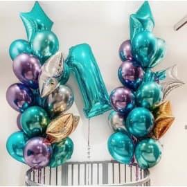 Композиция из шаров на 1 годик (два фонтана и цифра)