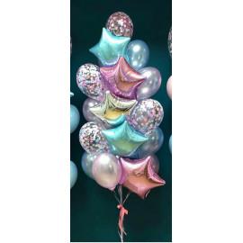 Композиция фонтан из шаров со звездами