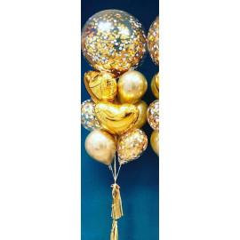 Фонтан из шаров в золотом стиле