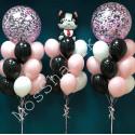 Фонтаны шаров с собачкой и с конфетти