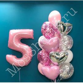 Композиция из воздушных шаров: Фонтан и цифра 5