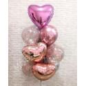 Букет воздушных шаров (розовые сердца)