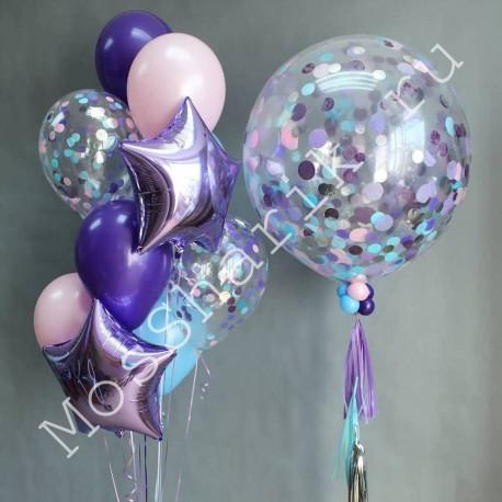 Сиреневый фонтан шаров и большой шар с конфетти