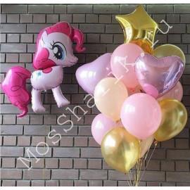 Фонтан воздушных шариков с розовым пони
