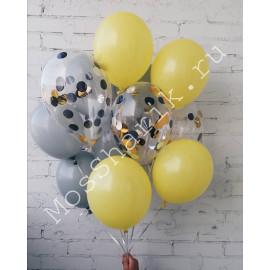 Воздушные шары (желтый, серый, конфетти)
