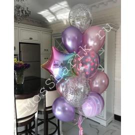 Фонтан шариков с гелием (розовое ассорти)