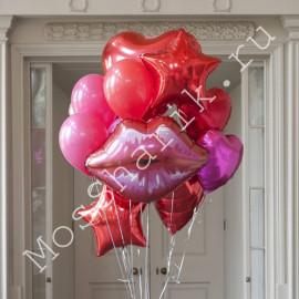 Букет из шариков: губы, звезды и сердца