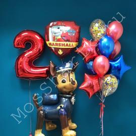 """Воздушные шары """"Щенячий патруль"""" на два года"""