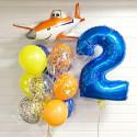 Воздушные шары с самолетом на 2 года