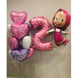 """Воздушные шары на 2 года """"Маша и медведь"""" с сердечками"""