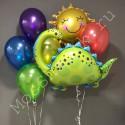Воздушные шары с динозавром и солнышком