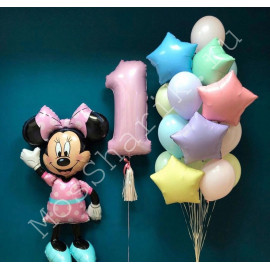 Разноцветные шары на годик с Минни маус