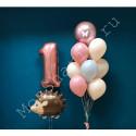 Воздушный шар ежик и фонтан шаров на годик