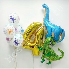 Воздушные шары с динозаврами и цифрой