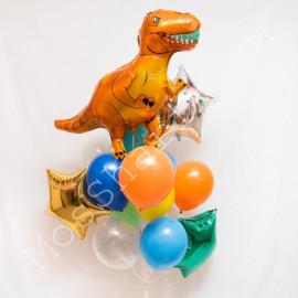 Фонтан с фольгированным шаром динозавром