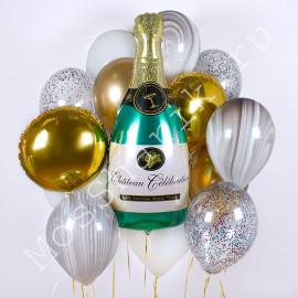 Шар шампанское в облаке шаров
