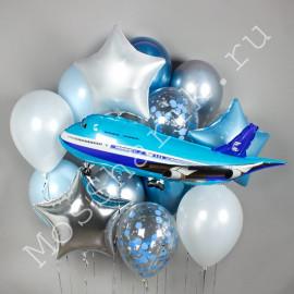 Фольгированный шар самолет и ассорти шаров