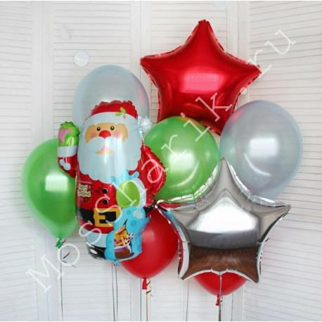 """Воздушный шар """"Дед мороз"""" в композиции шаров"""