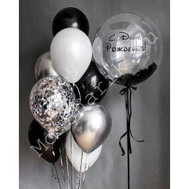 """Черные шары """"С Днем Рождения"""""""