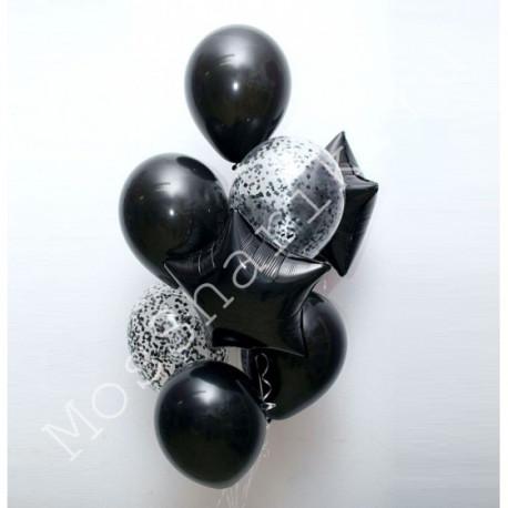 Фонтан из черных шаров со звездочками