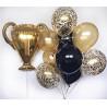 Фонтан из шаров черно золотой с кубком