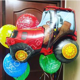 Фольгированный шар трактор и ассорти